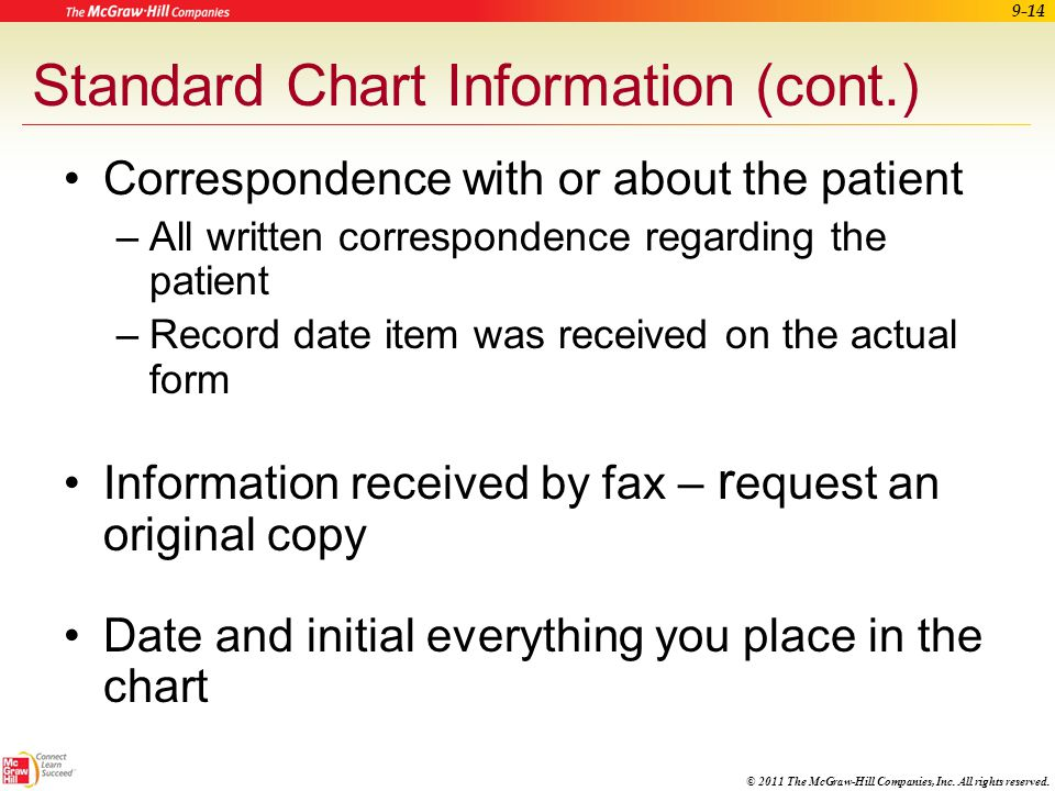 © 2011 The McGraw-Hill Companies, Inc. All rights reserved. 9-13 Standard Chart Information (cont.) Informed consent forms –Verify that the patient un