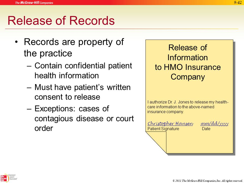 © 2011 The McGraw-Hill Companies, Inc. All rights reserved. 9-41 Apply Your Knowledge What is the appropriate way to correct an error in a patient's m