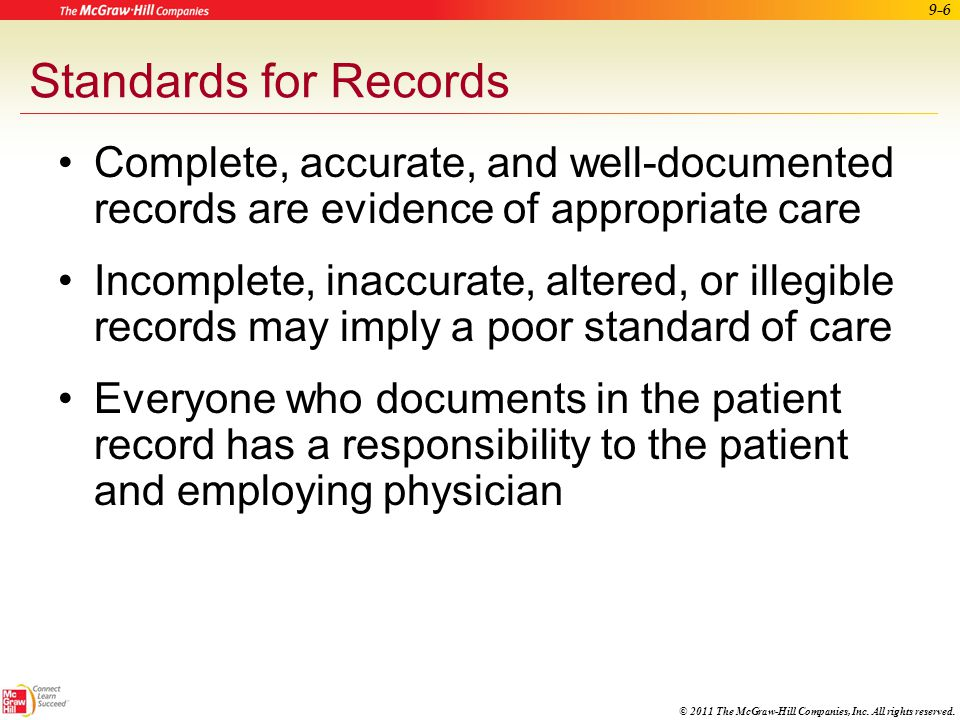 © 2011 The McGraw-Hill Companies, Inc. All rights reserved. 9-5 Legal Guidelines for Patient Records Proof of event or procedure No documentation – no