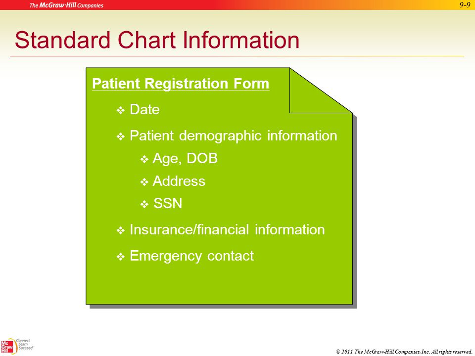 © 2011 The McGraw-Hill Companies, Inc. All rights reserved. 9-8 Apply Your Knowledge What is the purpose of documentation in a patient's medical recor