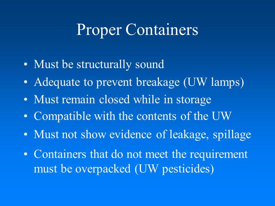 UW Lamps broken & NOT stored in a proper container