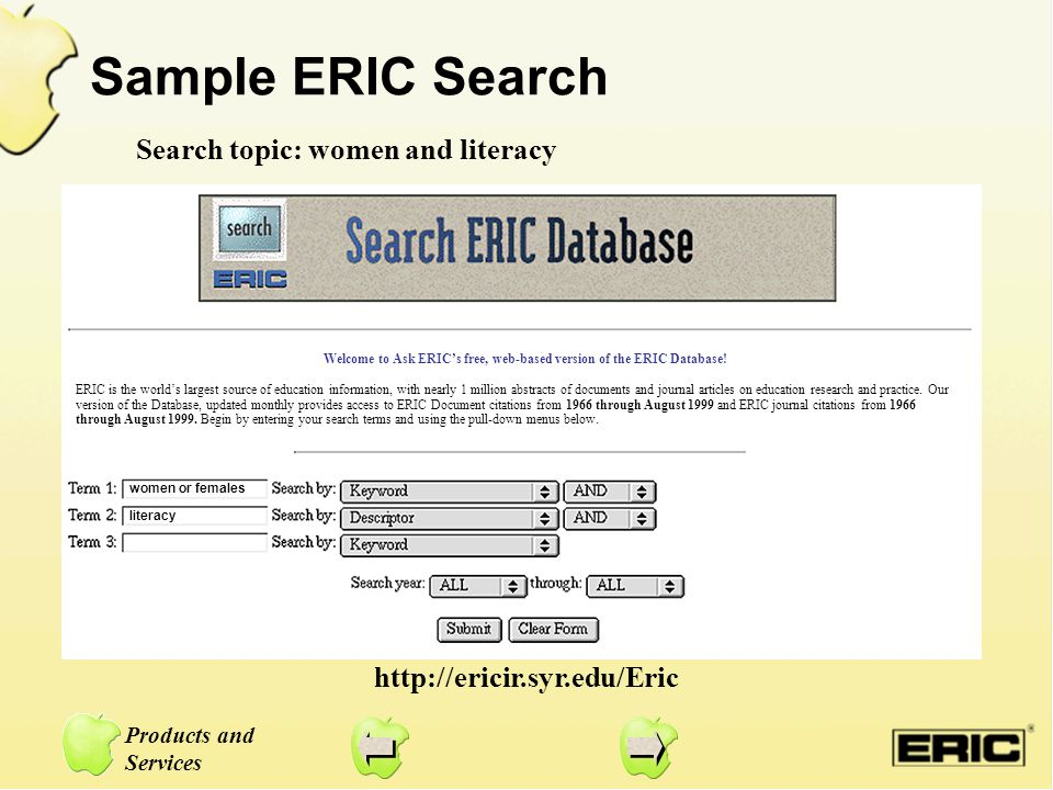 Sample ERIC Search Search topic: women and literacy http://ericir.syr.edu/Eric women or females literacy ERIC is the world's largest source of educati