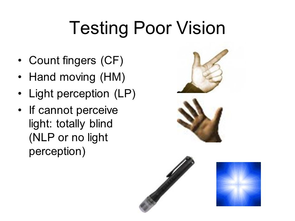 Testing Poor Vision Count fingers (CF) Hand moving (HM) Light perception (LP) If cannot perceive light: totally blind (NLP or no light perception)