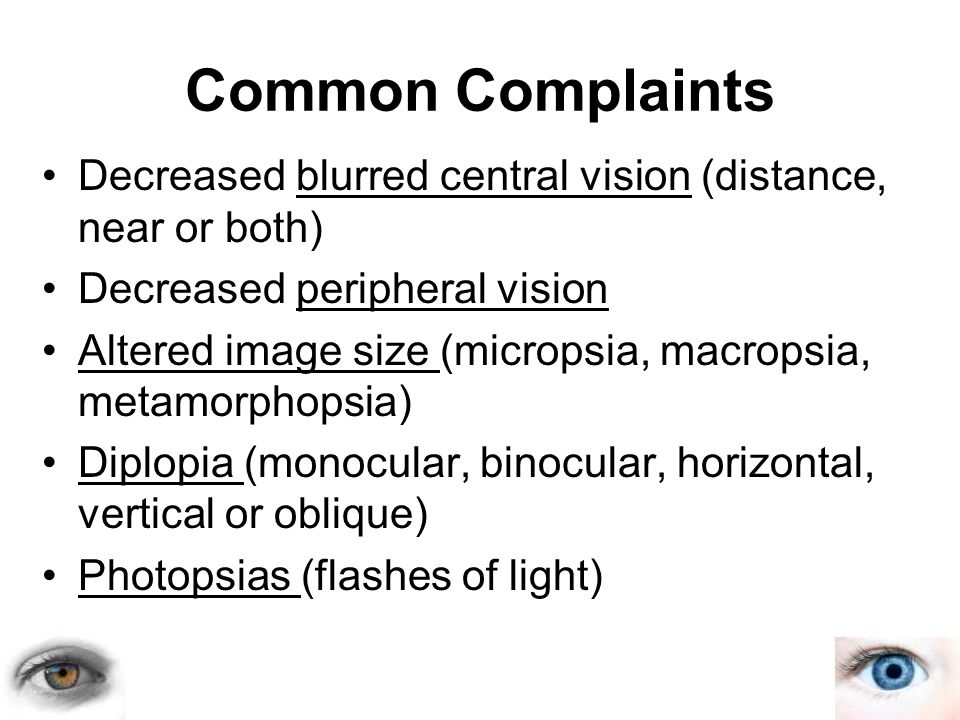 Decreased blurred central vision (distance, near or both) Decreased peripheral vision Altered image size (micropsia, macropsia, metamorphopsia) Diplop