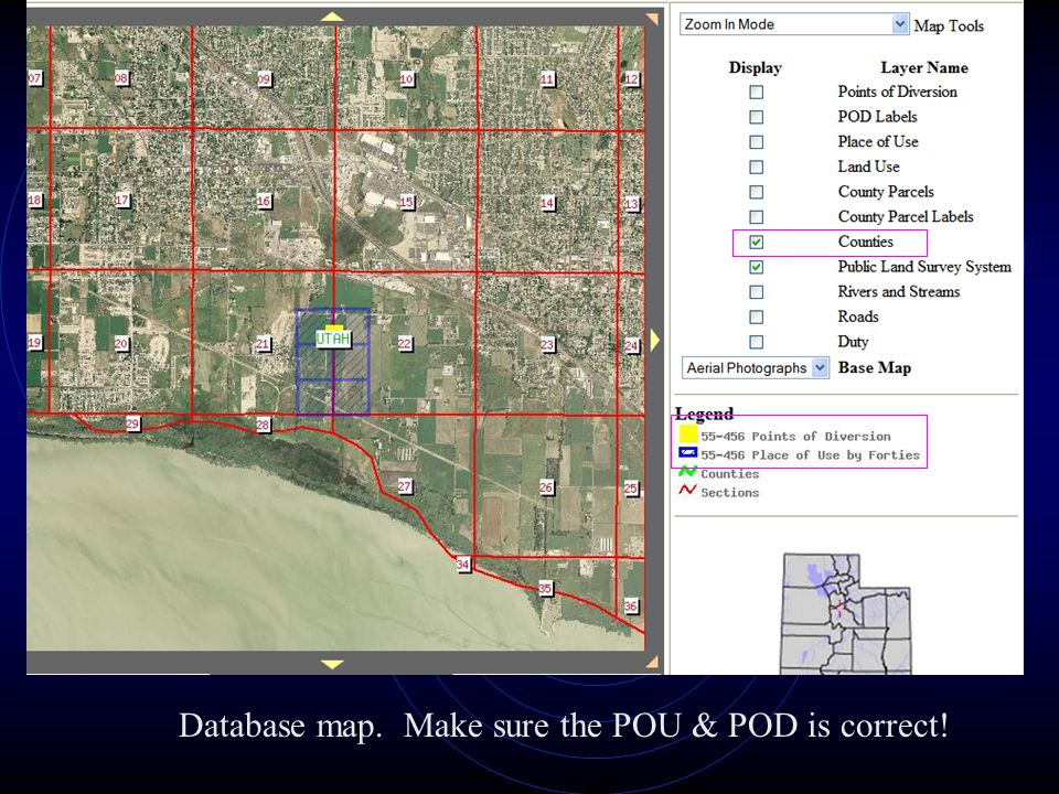 Database map. Make sure the POU & POD is correct!