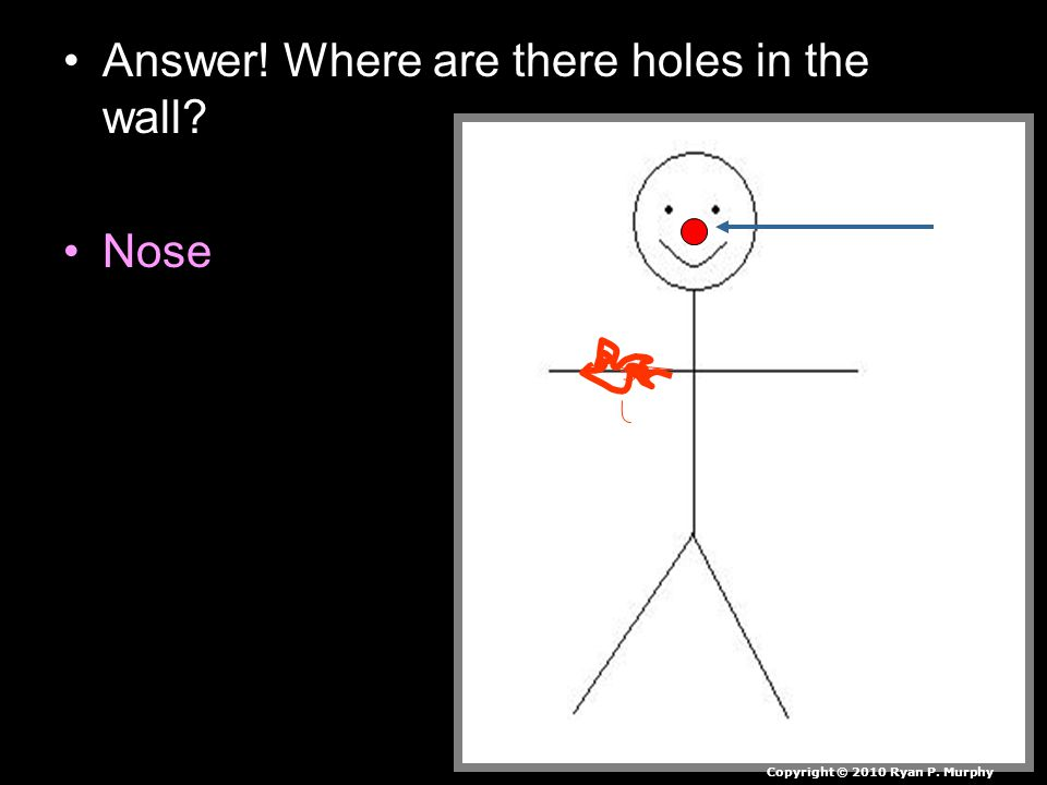 Answer! Where are there holes in the wall Nose Copyright © 2010 Ryan P. Murphy