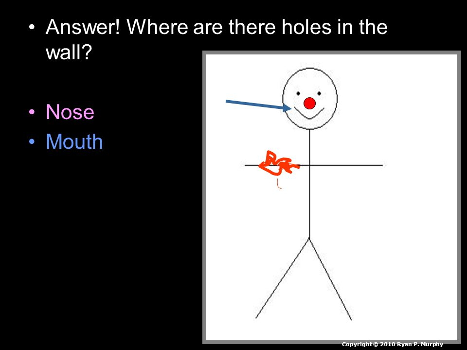 Answer! Where are there holes in the wall Nose Mouth Copyright © 2010 Ryan P. Murphy