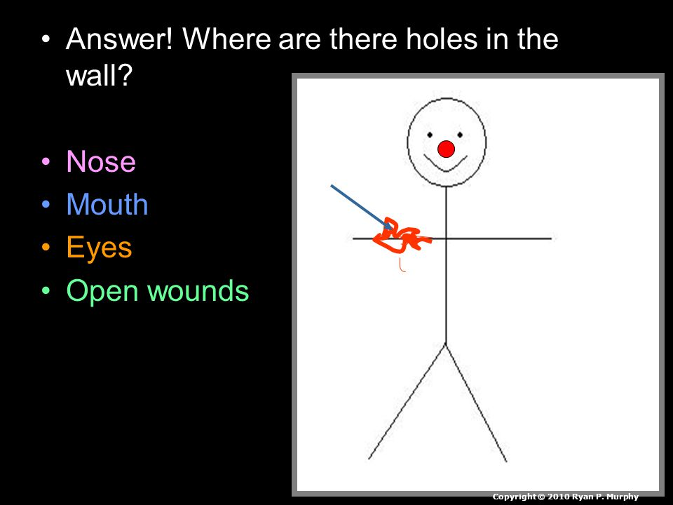 Answer. Where are there holes in the wall. Nose Mouth Eyes Open wounds Copyright © 2010 Ryan P.