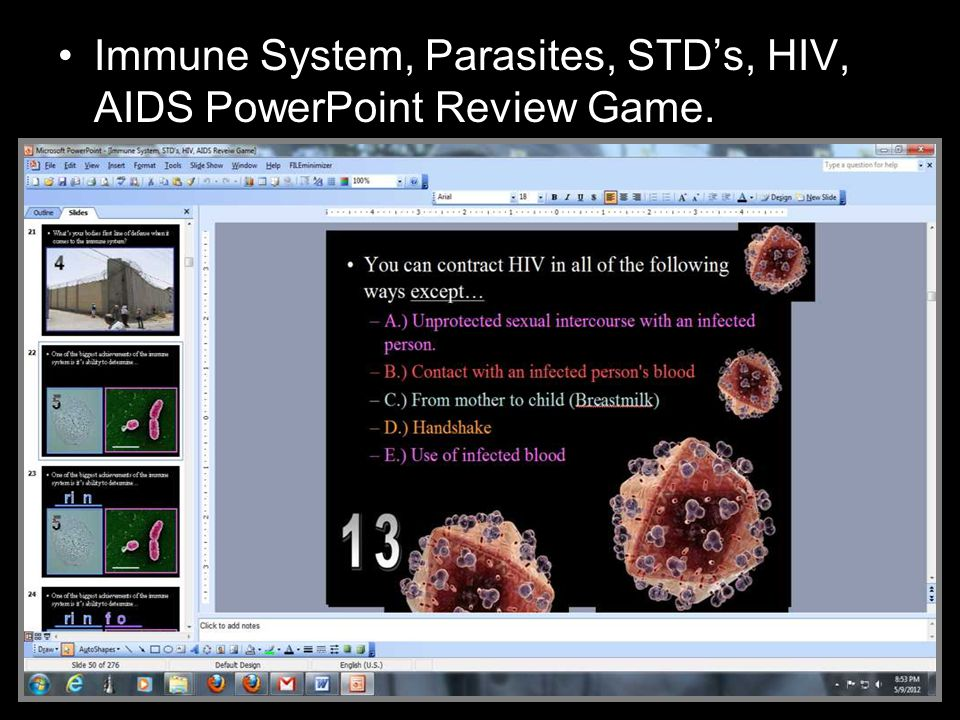 Immune System, Parasites, STD's, HIV, AIDS PowerPoint Review Game.