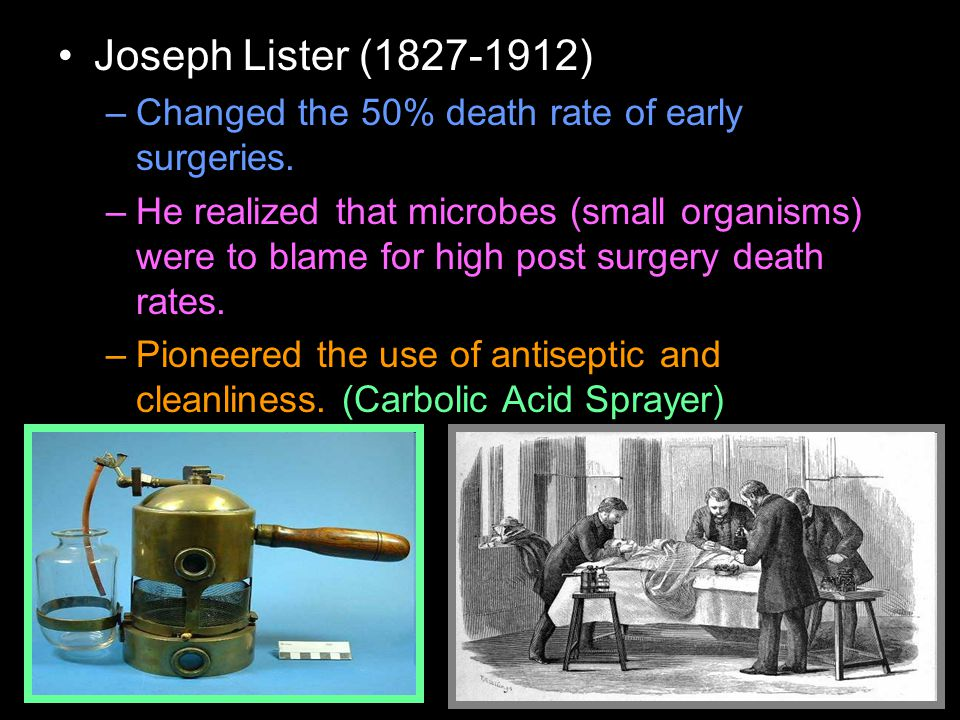 Joseph Lister (1827-1912) –Changed the 50% death rate of early surgeries.