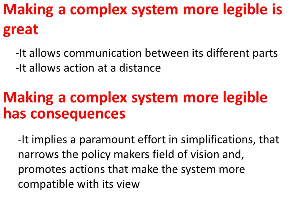 Making a complex system more legible is great Making a complex system more legible has consequences -It allows communication between its different par