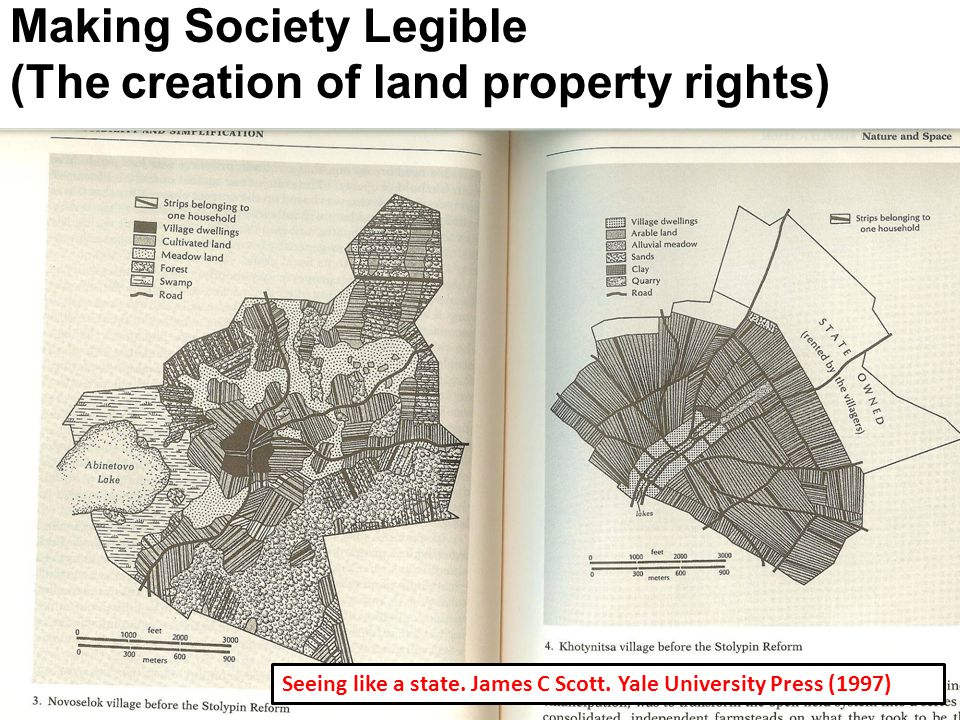 Seeing like a state. James C Scott. Yale University Press (1997) Making Society Legible (The creation of land property rights)