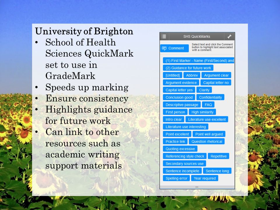 University of Brighton School of Health Sciences QuickMark set to use in GradeMark Speeds up marking Ensure consistency Highlights guidance for future work Can link to other resources such as academic writing support materials