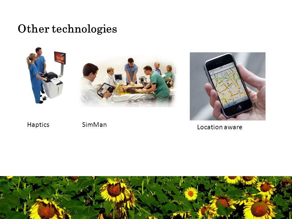 Other technologies HapticsSimMan Location aware