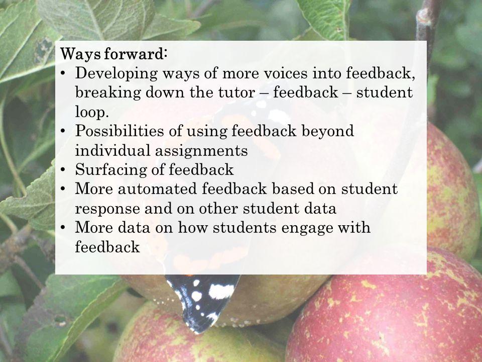 Ways forward: Developing ways of more voices into feedback, breaking down the tutor – feedback – student loop. Possibilities of using feedback beyond