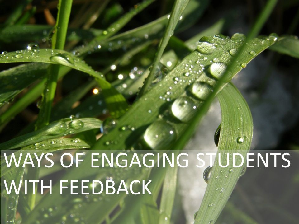 WAYS OF ENGAGING STUDENTS WITH FEEDBACK