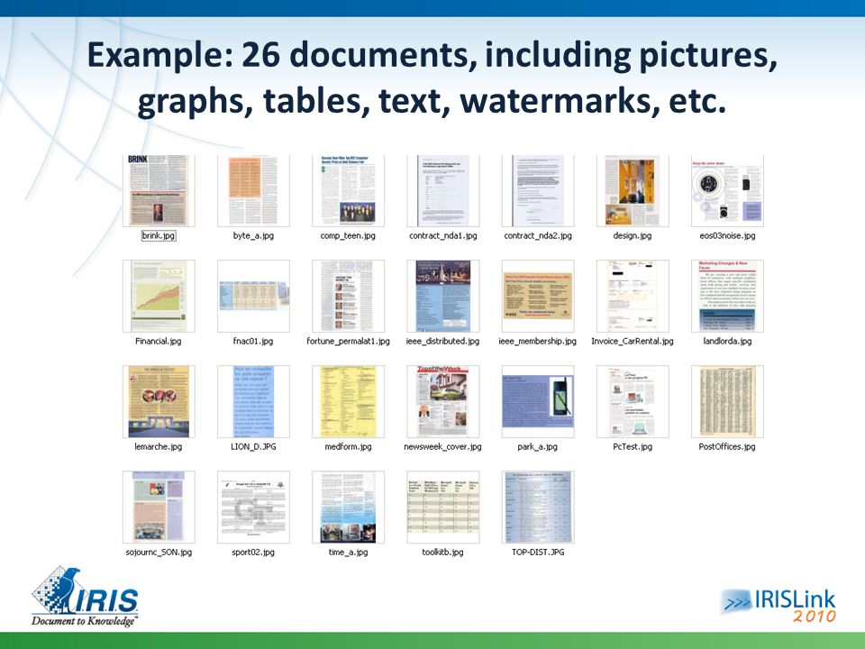 Example: 26 documents, including pictures, graphs, tables, text, watermarks, etc.