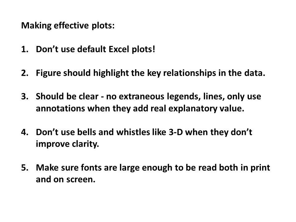 Making effective plots: 1.Don't use default Excel plots.