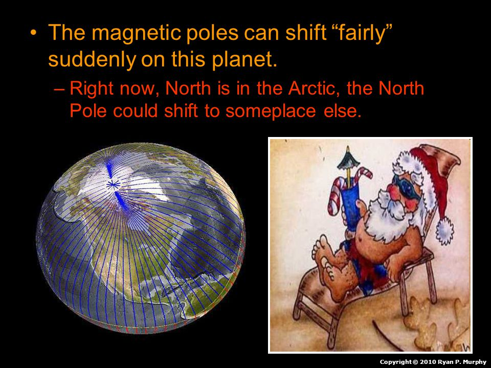"The magnetic poles can shift ""fairly"" suddenly on this planet. –Right now, North is in the Arctic, the North Pole could shift to someplace else. Copyr"