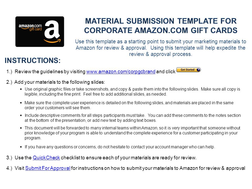 Use this template as a starting point to submit your marketing materials to Amazon for review & approval.