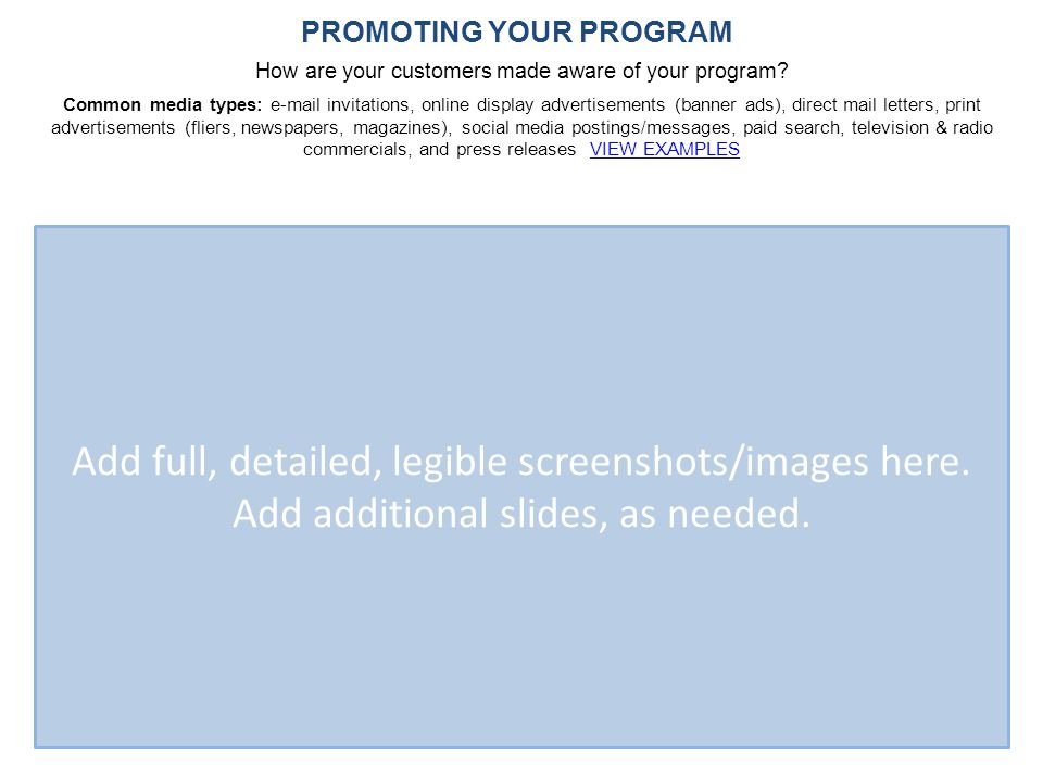 PROMOTING YOUR PROGRAM How are your customers made aware of your program.