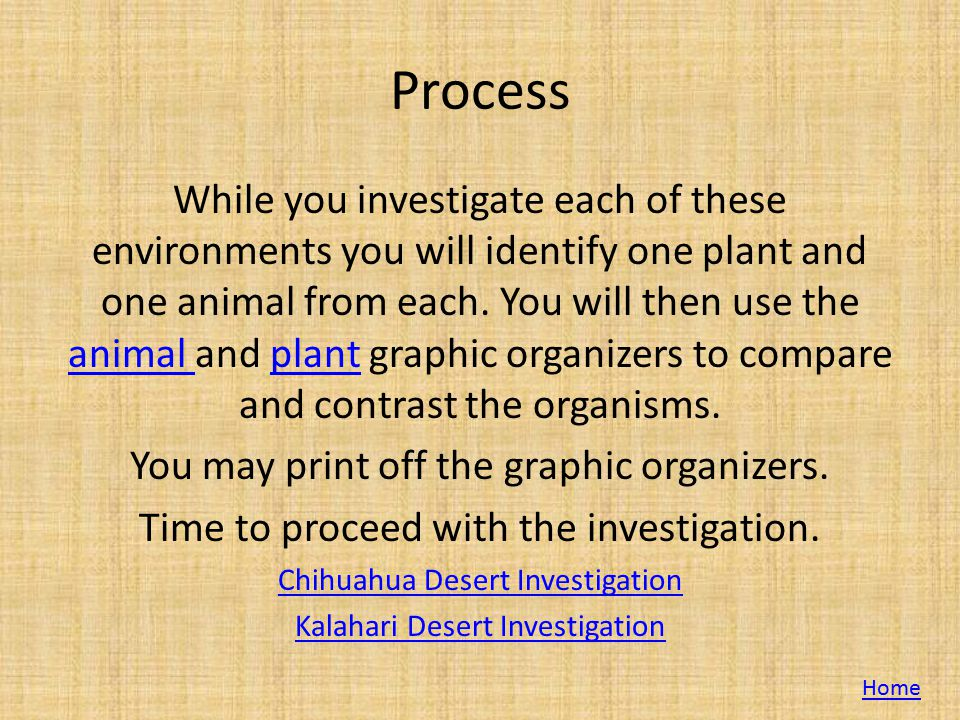 Process While you investigate each of these environments you will identify one plant and one animal from each. You will then use the animal and plant