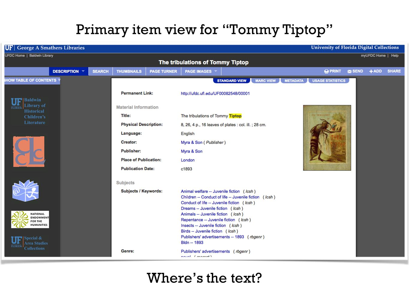 Primary item view for Tommy Tiptop Where's the text