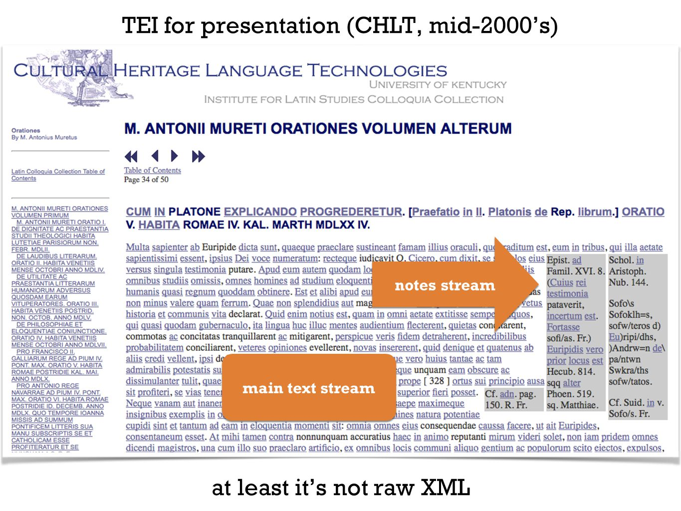 TEI for presentation (CHLT, mid-2000's) main text stream notes stream at least it's not raw XML