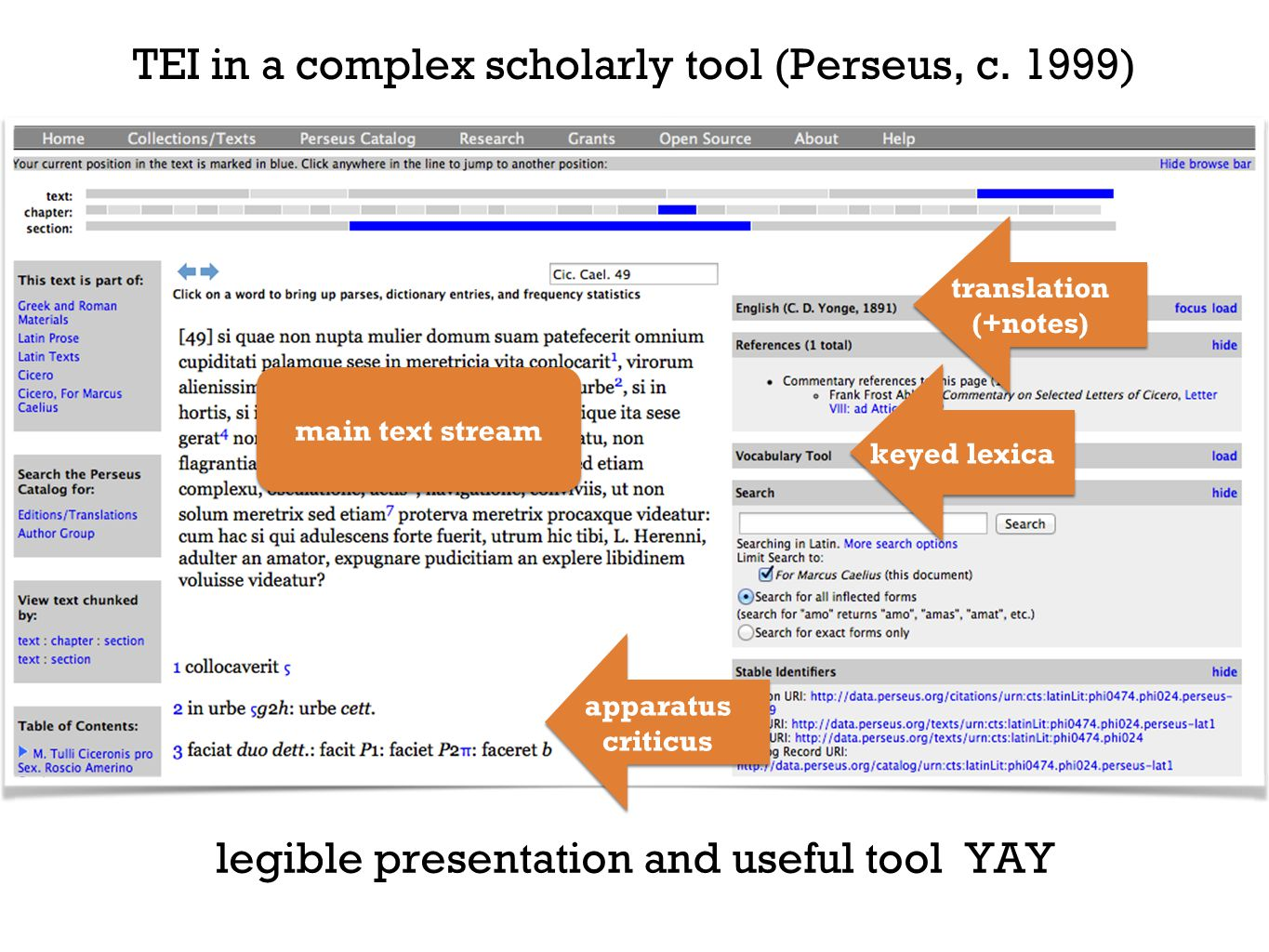 TEI in a complex scholarly tool (Perseus, c.