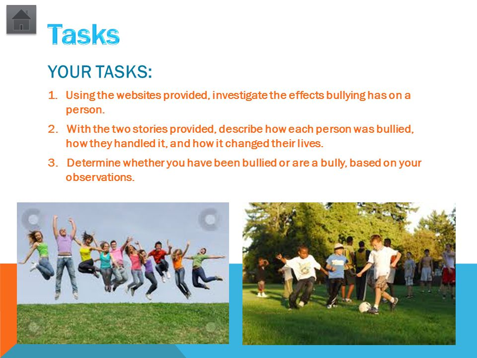 YOUR TASKS: 1.Using the websites provided, investigate the effects bullying has on a person. 2. With the two stories provided, describe how each perso