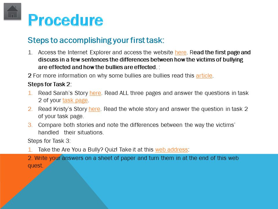 Steps to accomplishing your first task: 1.Access the Internet Explorer and access the website here. Read the first page and discuss in a few sentences
