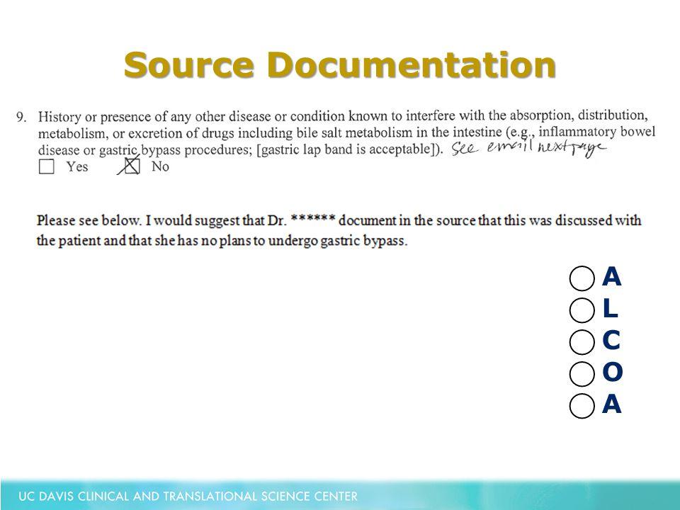 Source Documentation ⃝ A ⃝ L ⃝ C ⃝ O ⃝ A