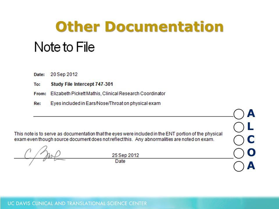 Other Documentation ⃝ A ⃝ L ⃝ C ⃝ O ⃝ A