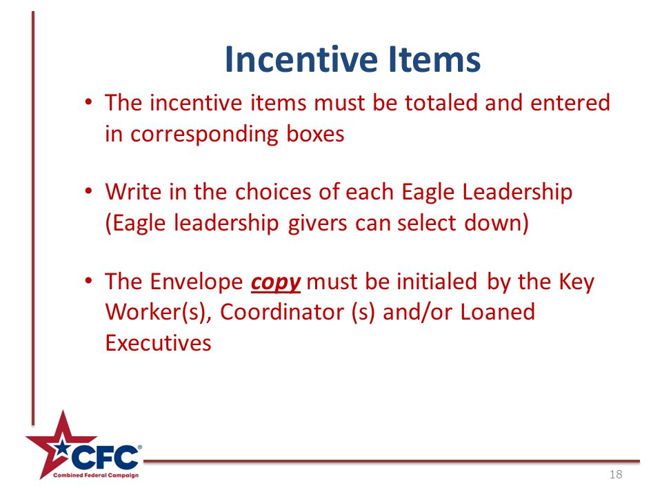 Incentive Items The incentive items must be totaled and entered in corresponding boxes Write in the choices of each Eagle Leadership (Eagle leadership givers can select down) The Envelope copy must be initialed by the Key Worker(s), Coordinator (s) and/or Loaned Executives 18