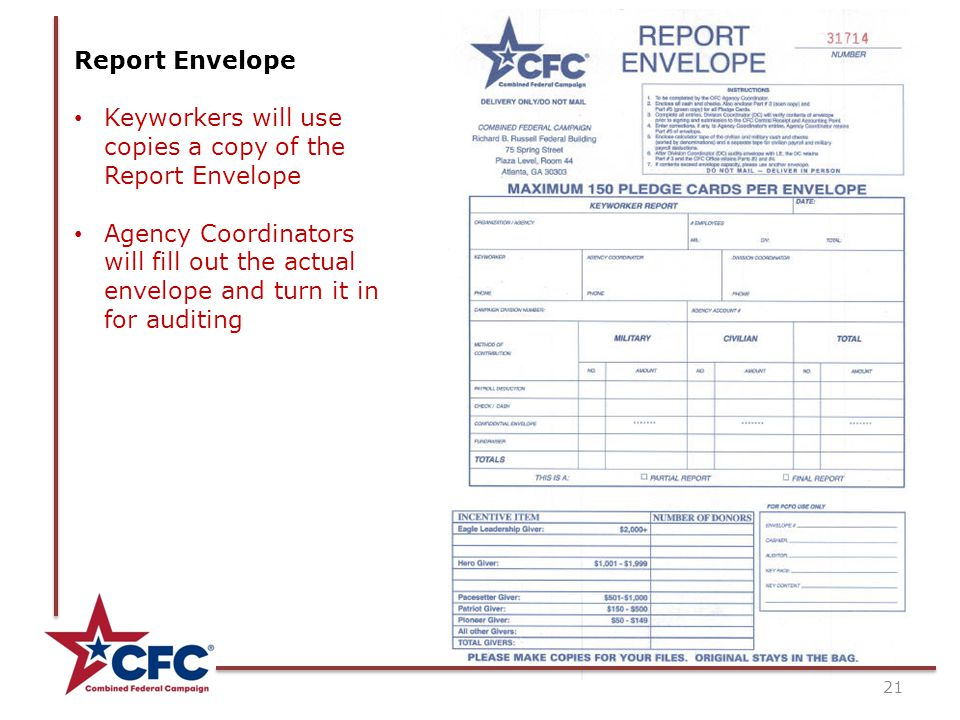 21 Report Envelope Keyworkers will use copies a copy of the Report Envelope Agency Coordinators will fill out the actual envelope and turn it in for auditing