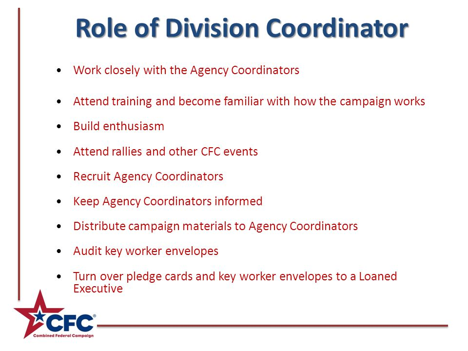 Role of Division Coordinator Work closely with the Agency Coordinators Attend training and become familiar with how the campaign works Build enthusias