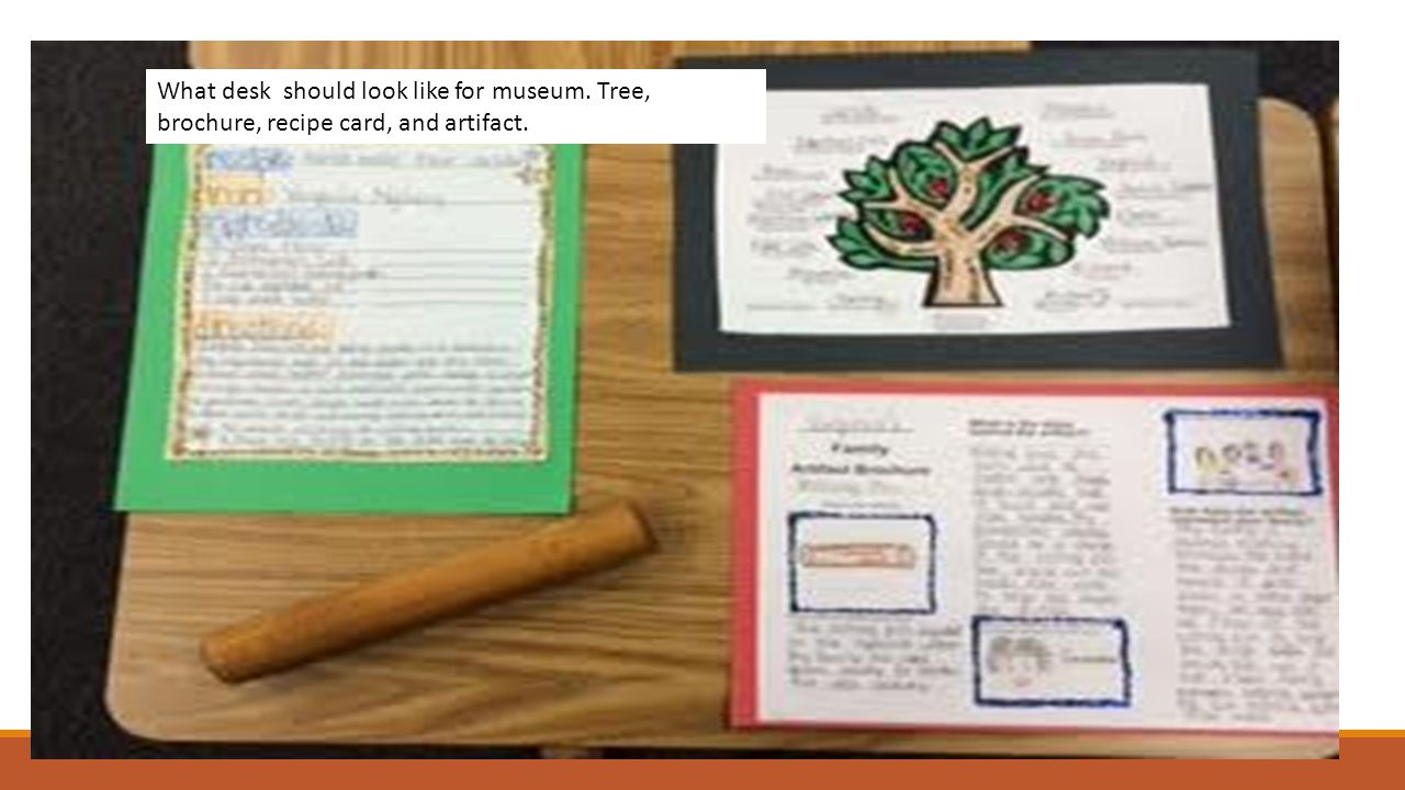 What desk should look like for museum. Tree, brochure, recipe card, and artifact.