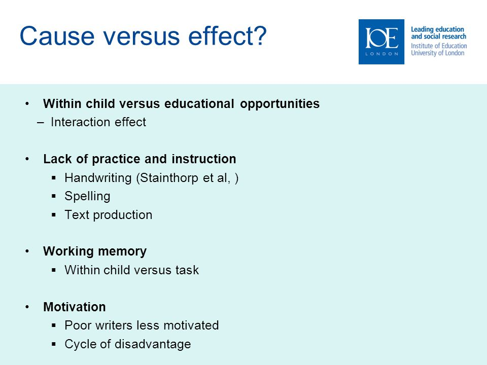Cause versus effect? Within child versus educational opportunities –Interaction effect Lack of practice and instruction  Handwriting (Stainthorp et a