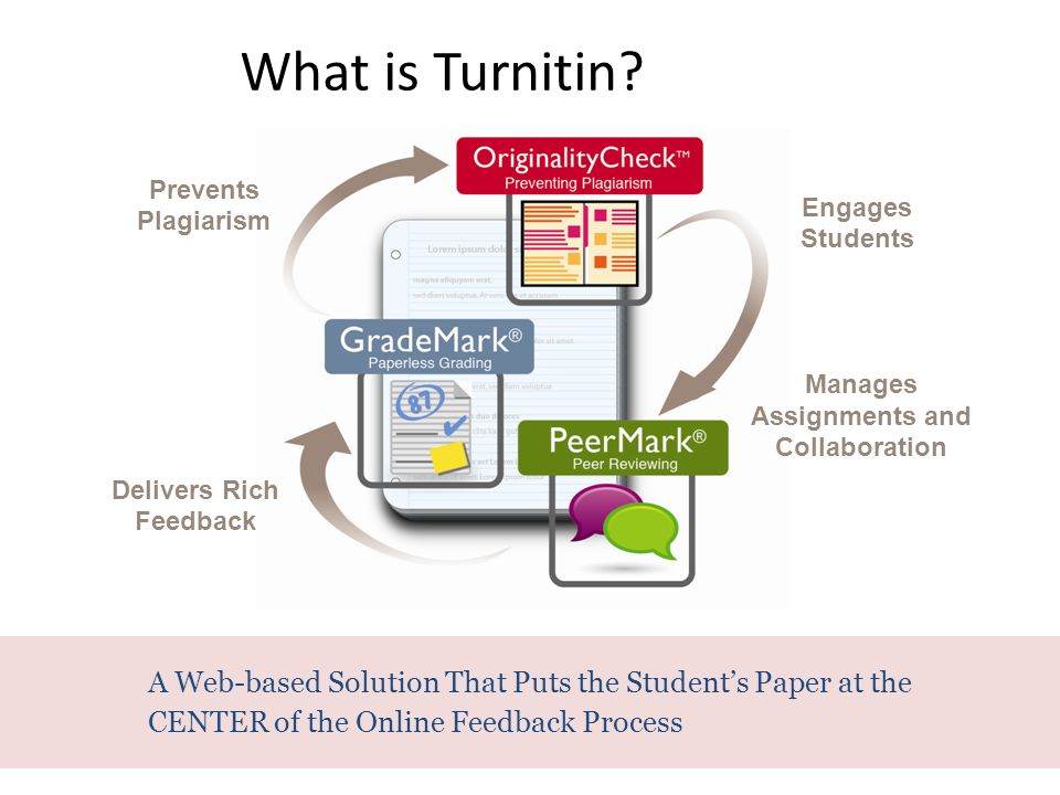 A Web-based Solution That Puts the Student's Paper at the CENTER of the Online Feedback Process What is Turnitin? Engages Students Prevents Plagiarism