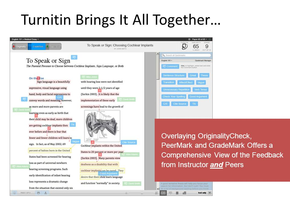 Turnitin Brings It All Together… Overlaying OriginalityCheck, PeerMark and GradeMark Offers a Comprehensive View of the Feedback from Instructor and P