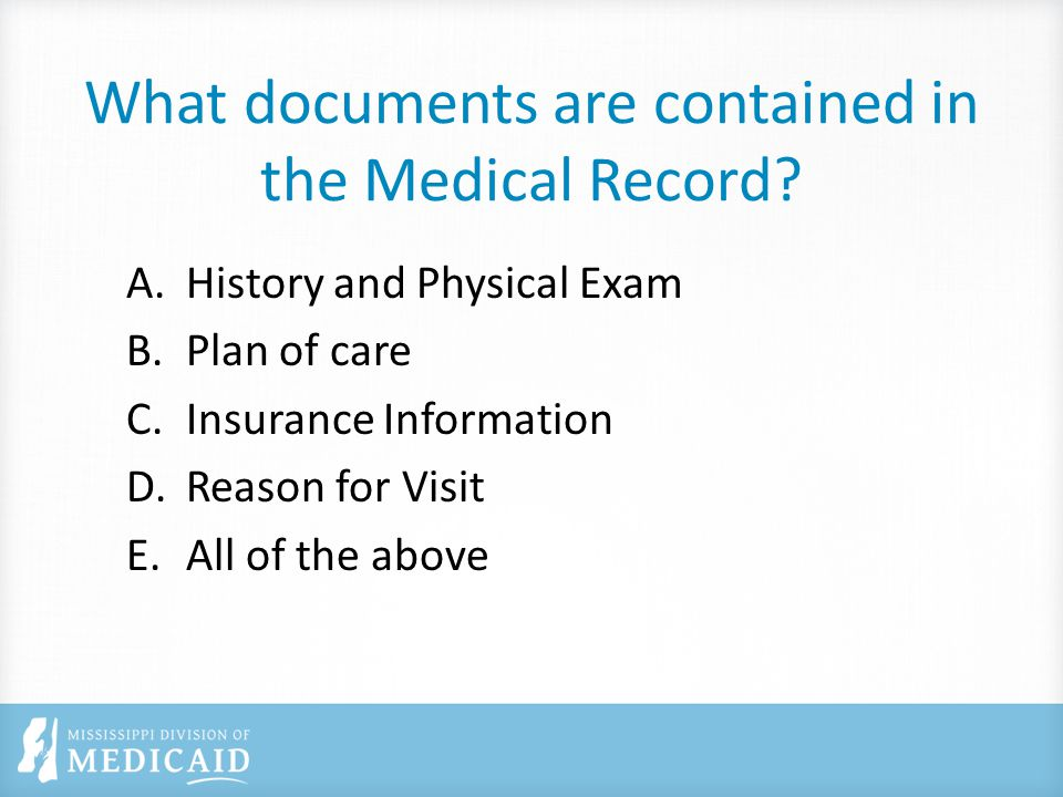 What documents are contained in the Medical Record.