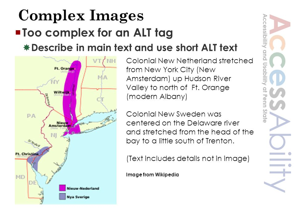 Complex Images  Too complex for an ALT tag  Describe in main text and use short ALT text Colonial New Netherland stretched from New York City (New Amsterdam) up Hudson River Valley to north of Ft.
