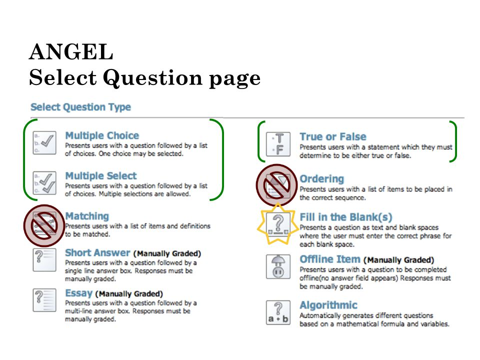 ANGEL Select Question page