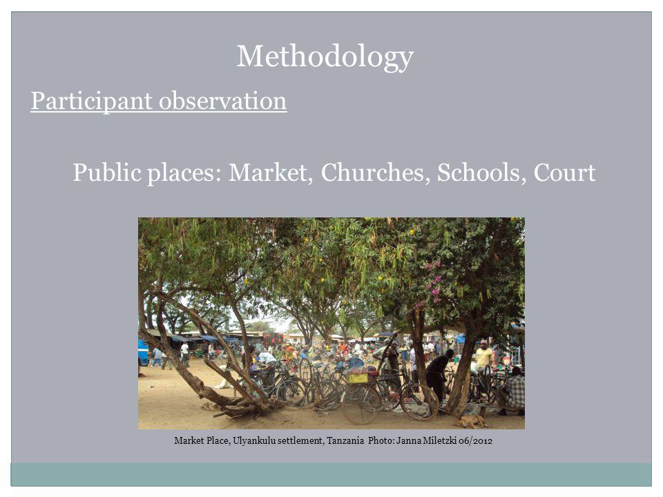 Methodology Participant observation Public places: Market, Churches, Schools, Court Market Place, Ulyankulu settlement, Tanzania Photo: Janna Miletzki