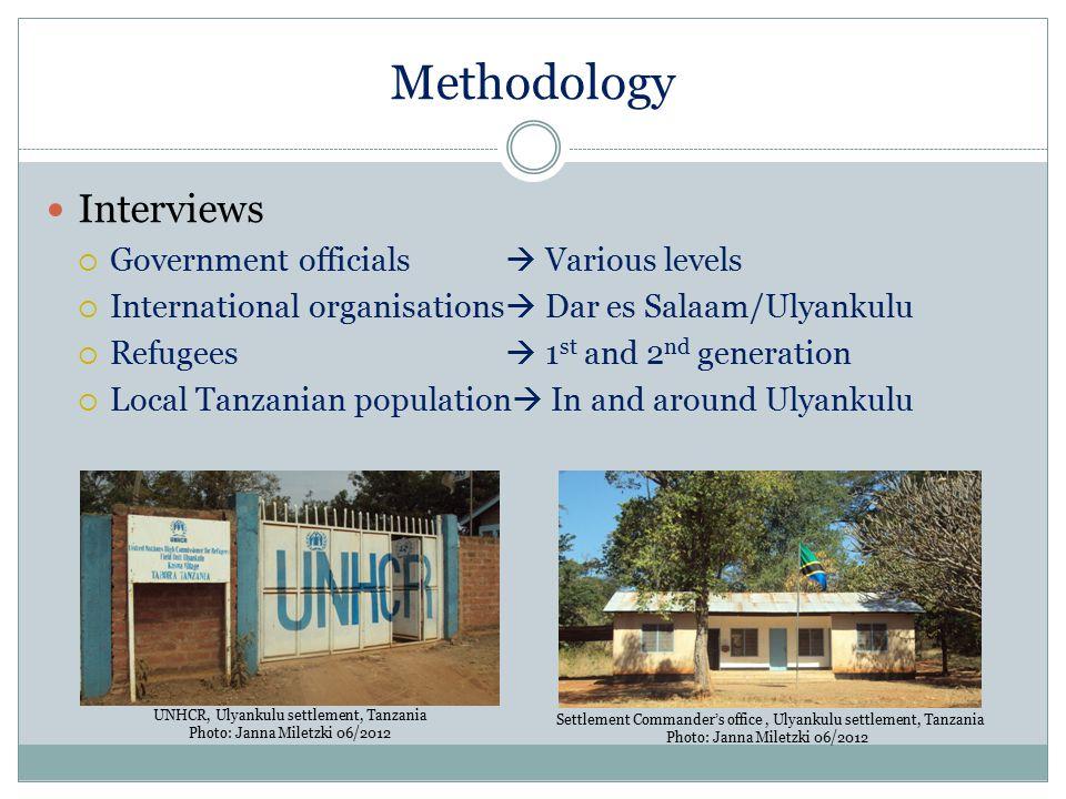Methodology Interviews  Government officials  Various levels  International organisations  Dar es Salaam/Ulyankulu  Refugees  1 st and 2 nd gene