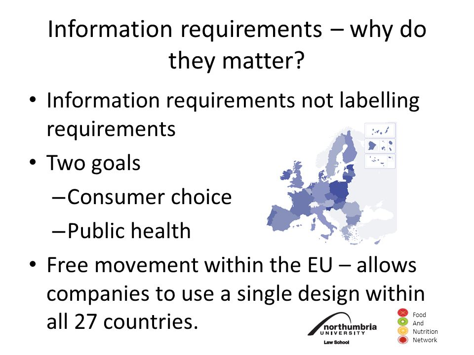 Food And Nutrition Network Information requirements – why do they matter.