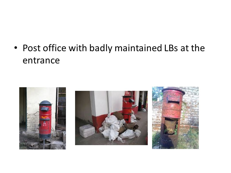 Post office with badly maintained LBs at the entrance