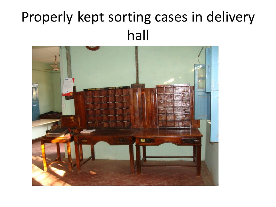 Properly kept sorting cases in delivery hall