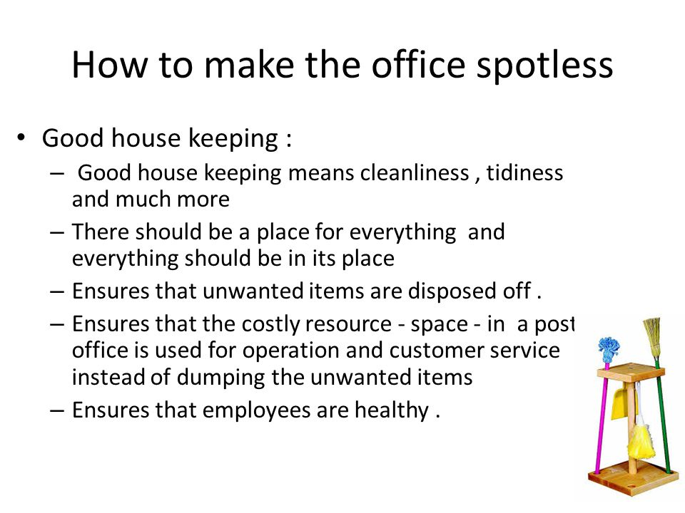 Spotless back office Back office consists of following areas – Counter operation area – Delivery hall – Accounts branch, Sub-accounts branch, SBCO branch etc – Server room – Postmaster's chamber