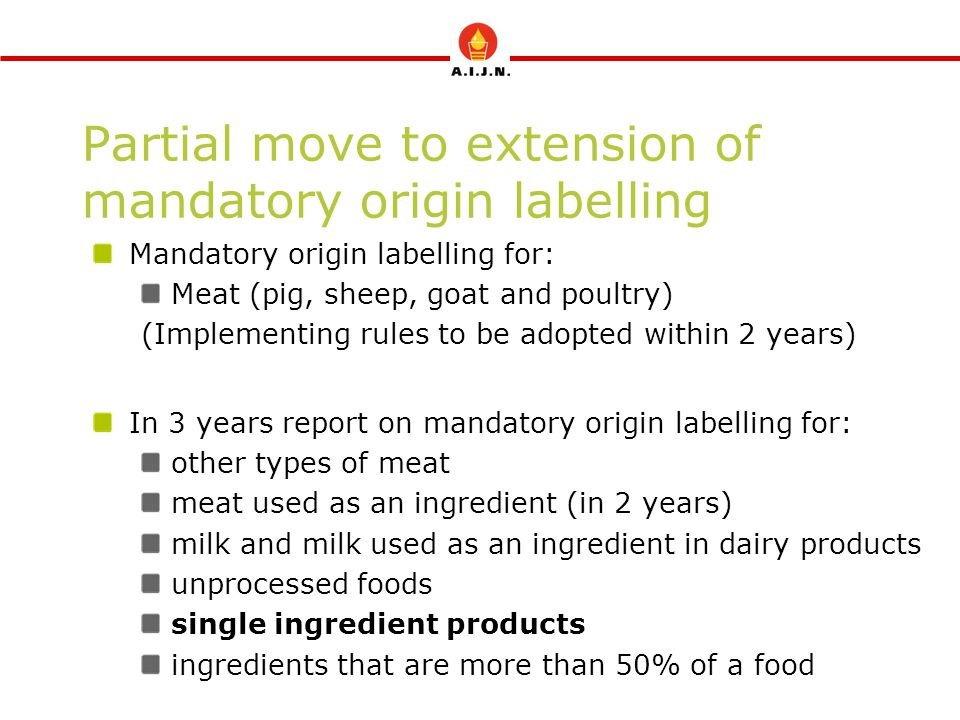 Partial move to extension of mandatory origin labelling Mandatory origin labelling for: Meat (pig, sheep, goat and poultry) (Implementing rules to be